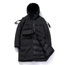 2017 Men Outwear Long Parkas Muti-pocket Hooded Mens Cotton Padded Clothing Casual Style Windbreaker Male Jacket Coat