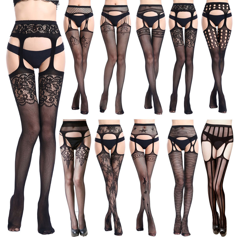 19 Style HOT SELLING Black Lace Fishnet Stockings Open Crotch Tights Lace Sexy Hosiery Women Thigh High Stockings Pantyhose
