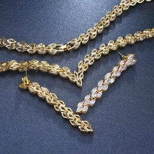 Image 4 - Комплект свадебных украшений Emmaya, золотистого цвета с фианитом, свадебное ожерелье, серьги