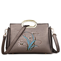 Embroidered Women S Genuine Leather Handbags Shoulder CrossBody Bag Fashion Floral Messenger Bags Women Bags Ladies