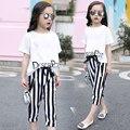 2016 летних девочек комплектов одежды с коротким рукавом шифон новорожденных девочек наборы для детей большие девочки футболки и полосой шорты дети костюмы