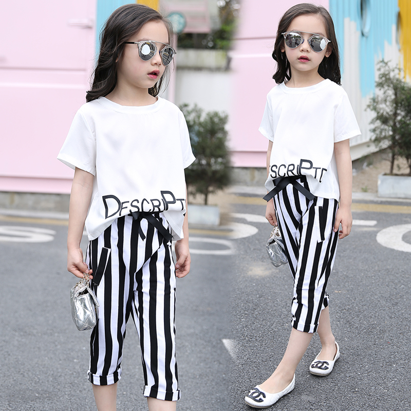 2017 summer girls sets clothes short sleeve chiffon baby girls sets for kids big girls t shirts and stripe shorts children suits letter print o neck collar short sleeve t shirts rose white shorts girl sets 2017 summer small kids new fashion for girls sets