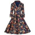 Nueva impresión túnica de manga dress impresión de la vendimia 50 s audrey hepburn impresión feminino retro party dress vestidos de fiesta vestidos