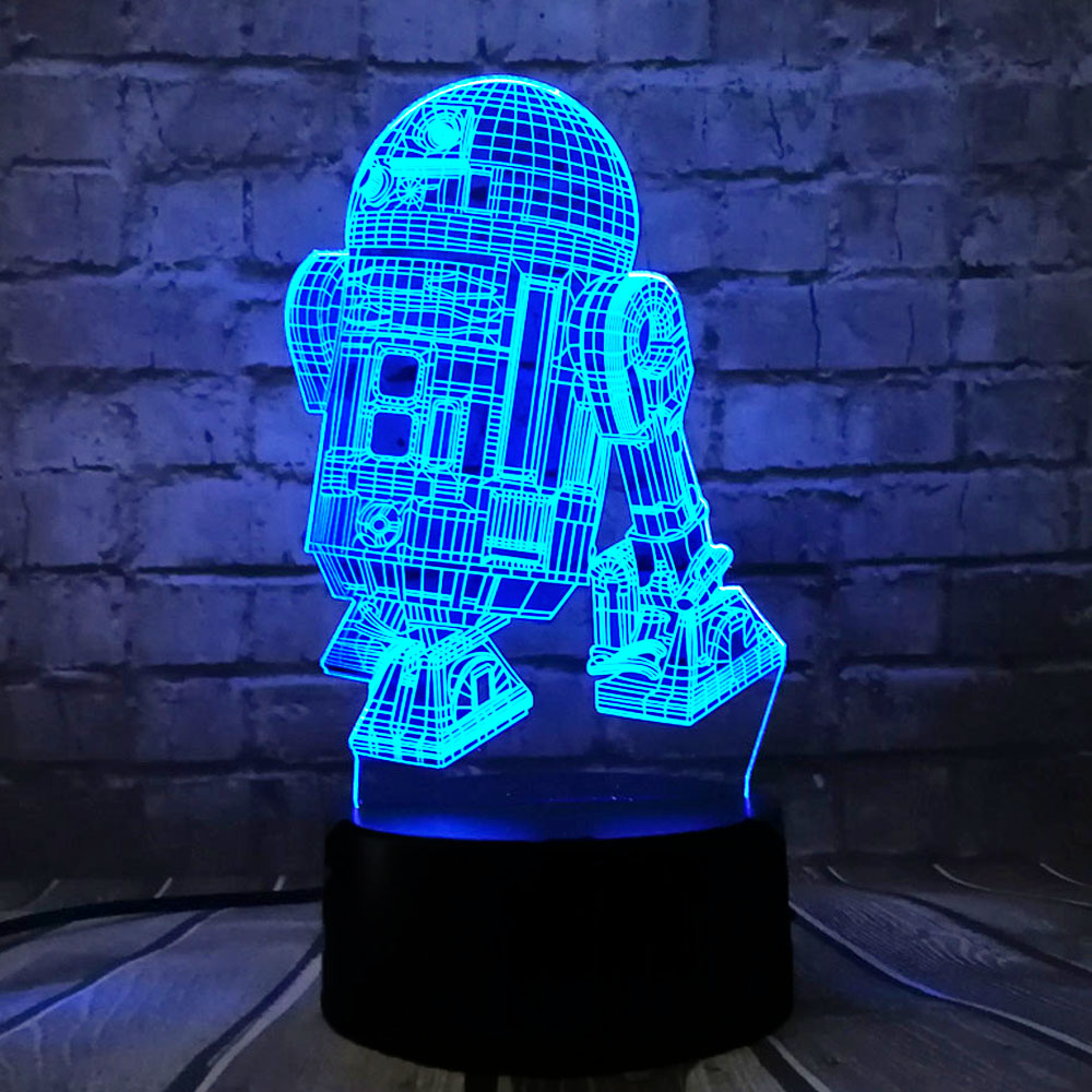 Hot Sale 3D Star Wars Warship Robot R2-D2 lampa 7 färger byta nattlampa RGB LED USB Touch Bord Humörslampa Holiday Kids Gift