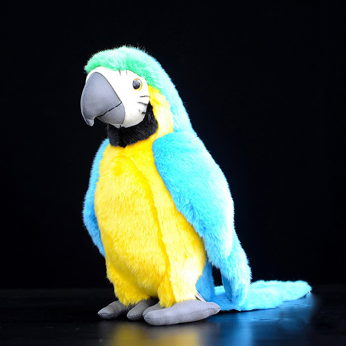 """12"""" Lifelike Blue-and-yellow Macaw Plush Toys Lovely Tropical Parrot Plush Dolls Simulation Wild Animal Stuffed Toys For Kids"""