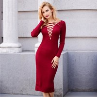 TAUPIN AM Reversible Autumn Knitted Midi Dress Women Lace Up Black Office Dress Bodycon Dress Sexy