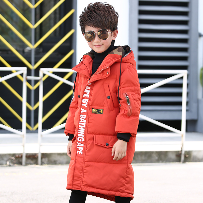 Children  jacket boy's warm winter long outerwear 2017 teenagers new big kids down jacket coat for 7-12T 2017 new winter fashion women down jacket hooded thick super warm medium long female coat long sleeve slim big yards parkas nz18