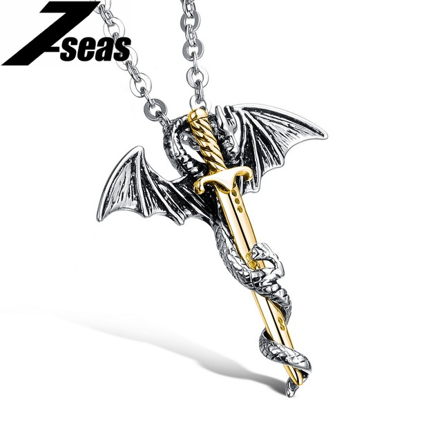 Punk Dragon & Sword Men Pendant Necklace Cool Gold Color Stainless Steel Men Jewelry Link Chain Charm Accessory collar hombre