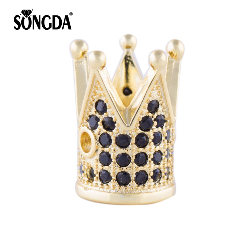 Provided European Vintage Charm 4 Colors 12*8mm Zirconia Micro Paved Gold Crown Copper Bead Cz Beads For Diy Bracelet Schmuck For Improving Blood Circulation Beads & Jewelry Making