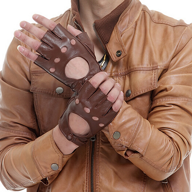 162a33ab5b82d Detail Feedback Questions about Men Fingerless Black Brown Gloves Winter  Spring Leather Gloves Driving Gloves Sheepskin Gloves on Aliexpress.com