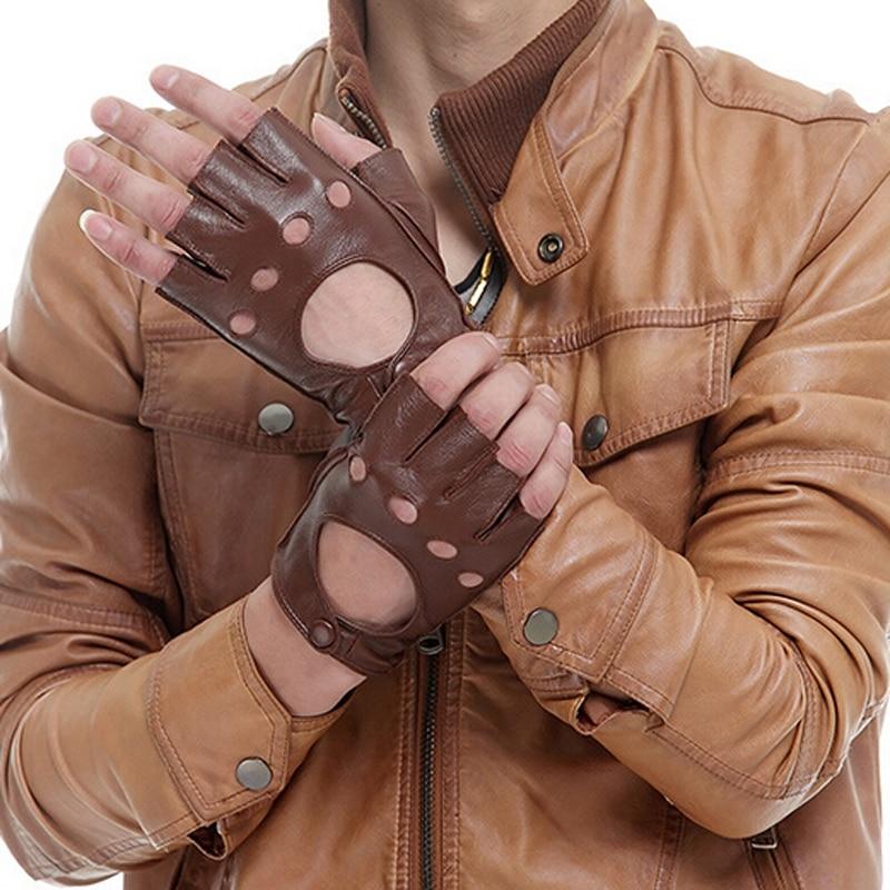 Men Fingerless Black Brown Gloves Winter Spring Leather Gloves Driving Gloves Sheepskin Gloves fingerless wedding gloves with appliques