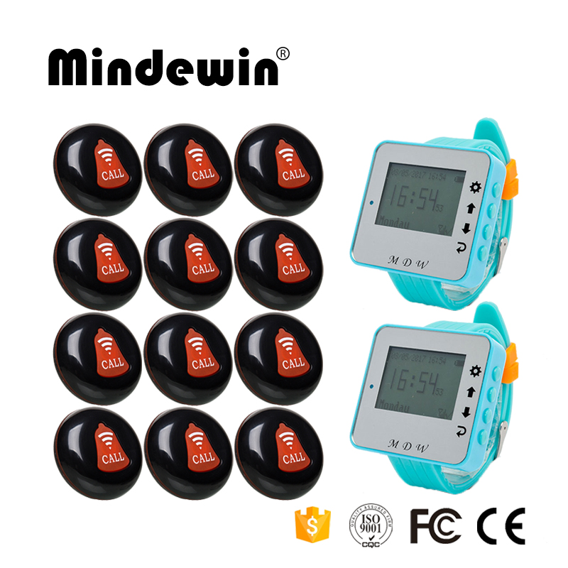 Wireless Pager Restaurant Pager Waiter Calling System 12pcs Call Transmitter Button M-K-1 +2pcs Wrist Receiver M-W-1 433MHz wireless restaurant calling pager system 433 92mhz wireless guest call bell service ce pass 1 display 4 watch 40 call button