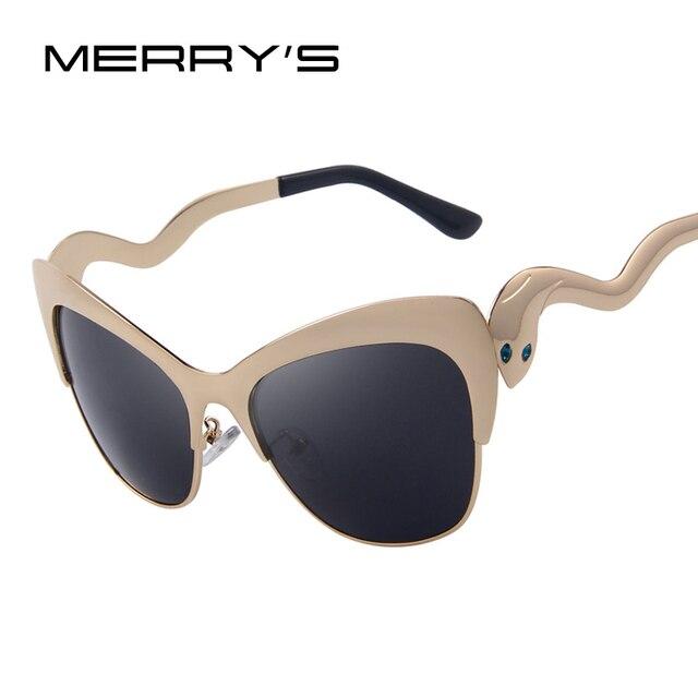 MERRY S las mujeres de ojo de gato gafas de sol Retro Oval marco gafas de  sol 5093c2859531
