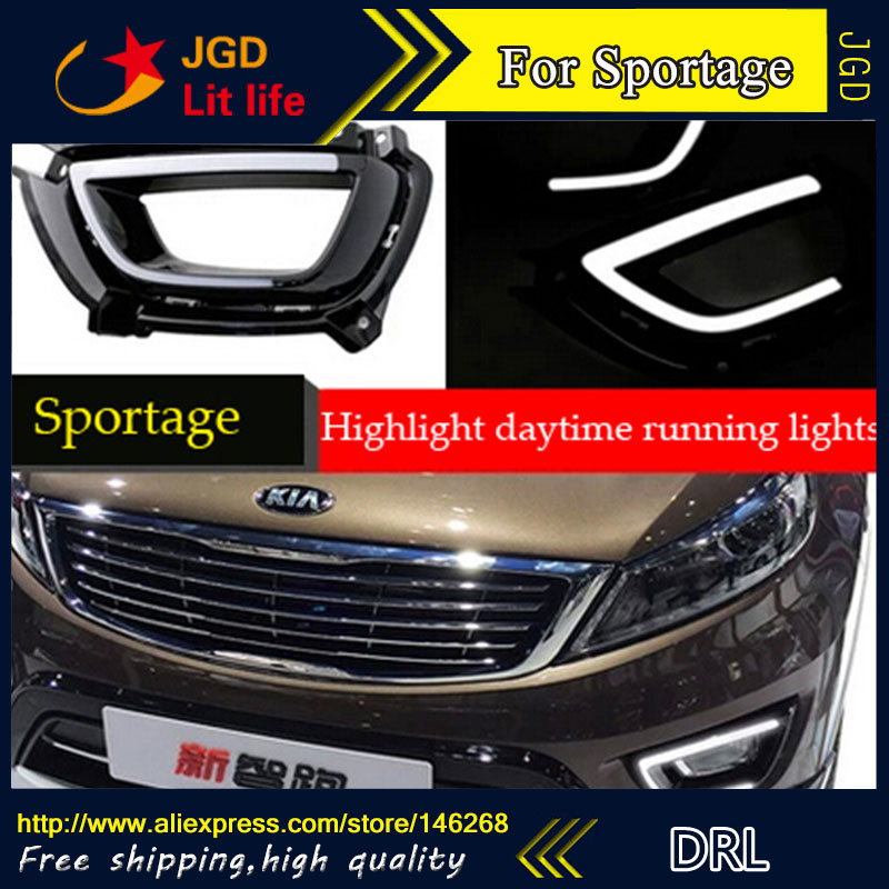 Free shipping ! 12V 6000k LED DRL Daytime running light for Kia Sportage 2015 2016 fog lamp frame Fog light Car styling free shipping 12v 6000k led drl daytime running light case for subaru wrx 2015 2016 fog lamp frame fog light car styling