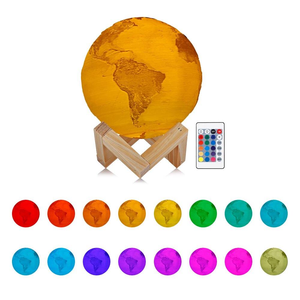 16 Colors 3D Light Print Rechargeable Earth Lamp 12/15/18CM