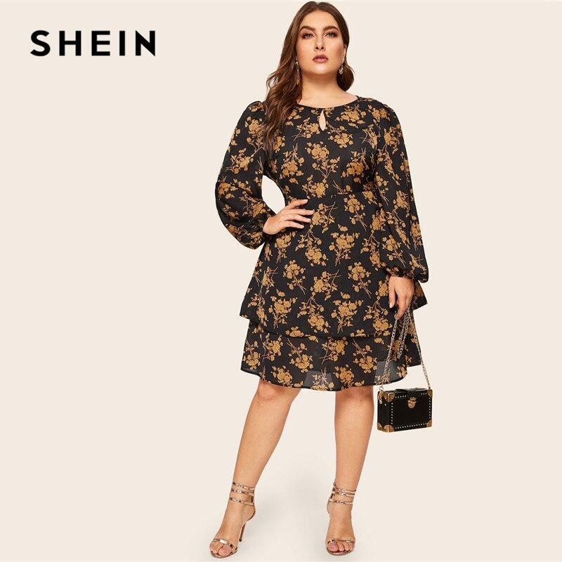 Шеин плюс размеры многоцветный ботанический принт слоистых кнопка платье с рюшами для женщин 2019 Весна офисные женские туфли по колено