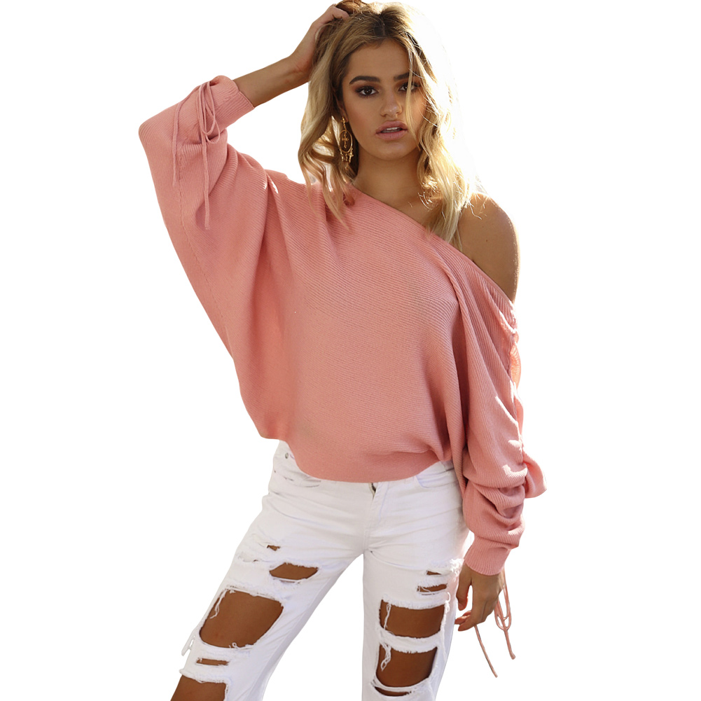 Sexy New Women Knitted Sweater Off Shoulder Pullover Jumper Drawstring Bat Long Sleeve Casual Loose Knitwear Autumn Fashion Tops