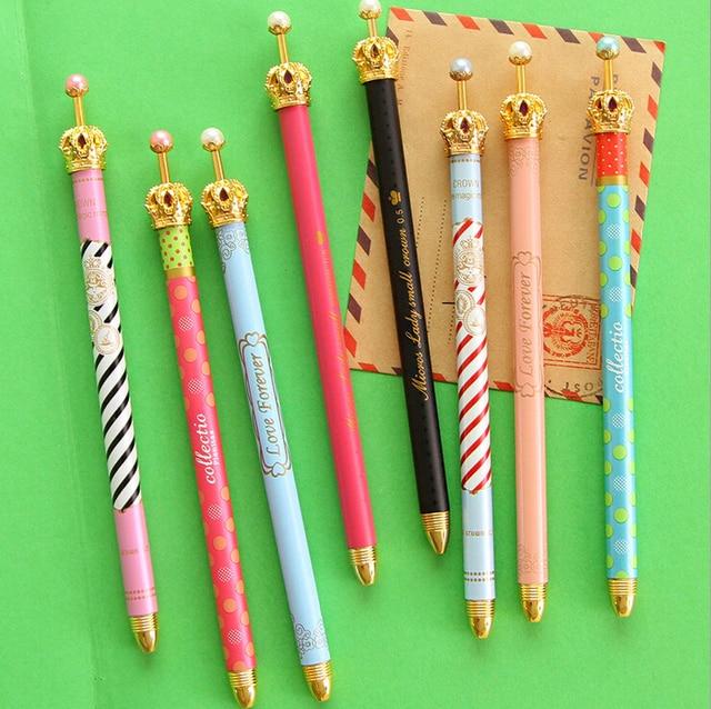 0.38mm Cute Kawaii Metal Crown gel Pen Dot Gel Pens for Writing Stationery School Office Supplies Free shipping