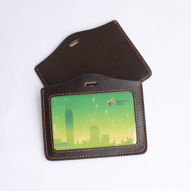 eac9559dbea0d1 Dark Coffee Genuine Leather Business ID Badge Card Holder Horizontal (Top  Loading) with Slot