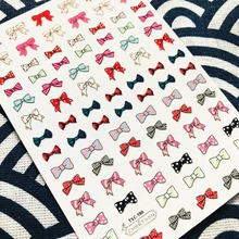 TSC-190 Cheetsan colorful bowtie newest 3d nail art stickers decals export quality gold sticker