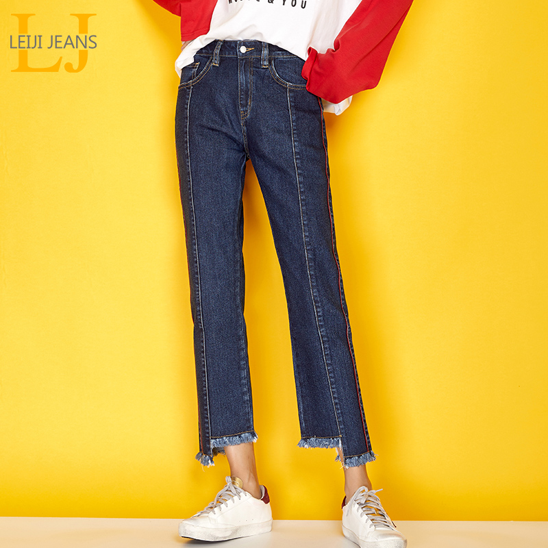 LEIJIJEANS New Autumn High Street Style Side Stripe Pleated Cuff Cotton Plus Size XL Dark Blue Loose Straight   Jeans   Women 7162