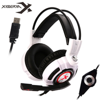 XIBERIA PC Gaming Headset Virtual 7.1 Surround Sound Stereo Bass Game Headset with Mic/LED Lights for Computer Gamer