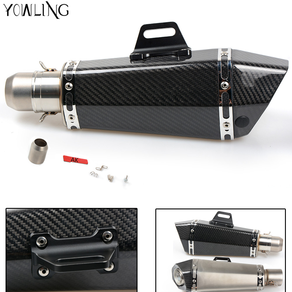 цены  Motorcycle Real carbon fiber exhaust Exhaust Muffler pipe for kawasaki z750 z800 z1000 er6n er6f ninja 650r zx6r zx9r zx12r