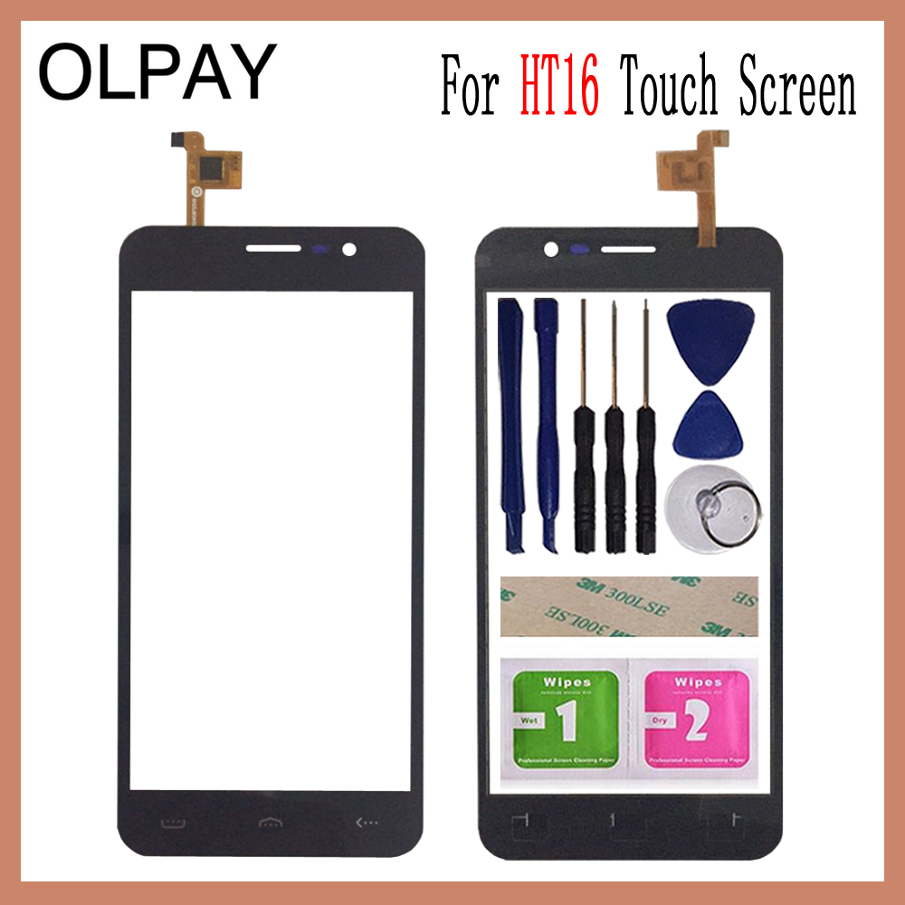 OLPAY 5.0'' Mobile Phone Touch Panel For Homtom HT16 HT 16 Touch Screen Glass Digitizer Panel Lens Sensor Tools Adhesive+Wipes