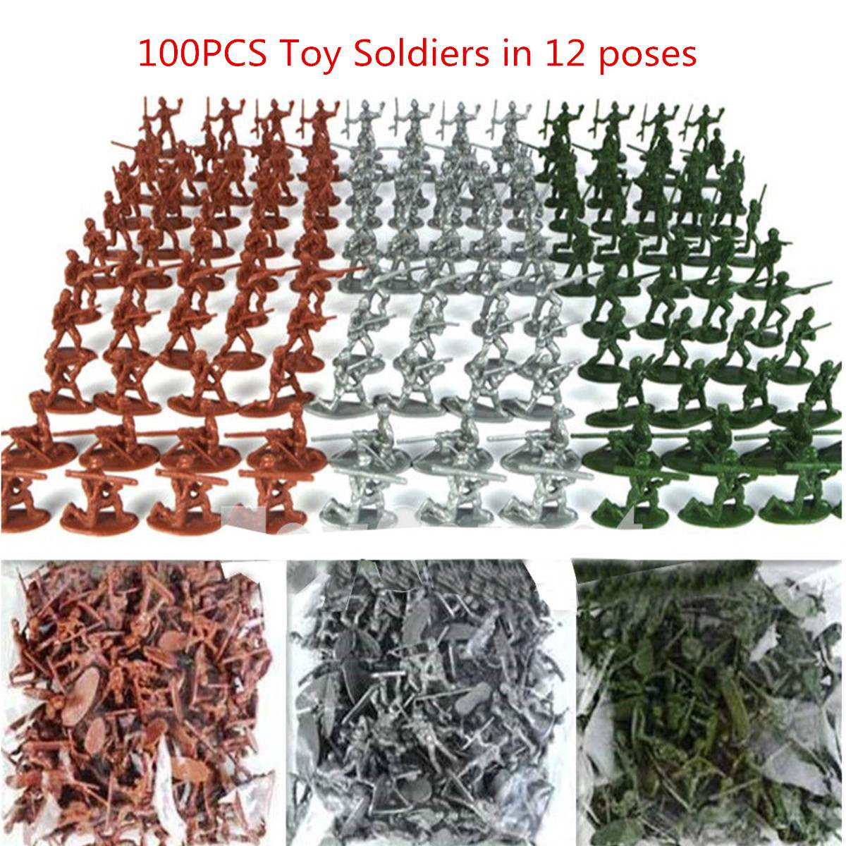 100pcsset Military Plastic Toy Soldiers Army Men Figures 12 Poses Gift Toy Model Action Figure Toys For Children Boys