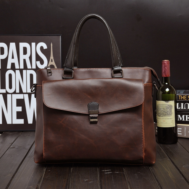 Male cross section crazy horse leather briefcase bag handbag business English Korean men's Shoulder Bag Messenger Bag