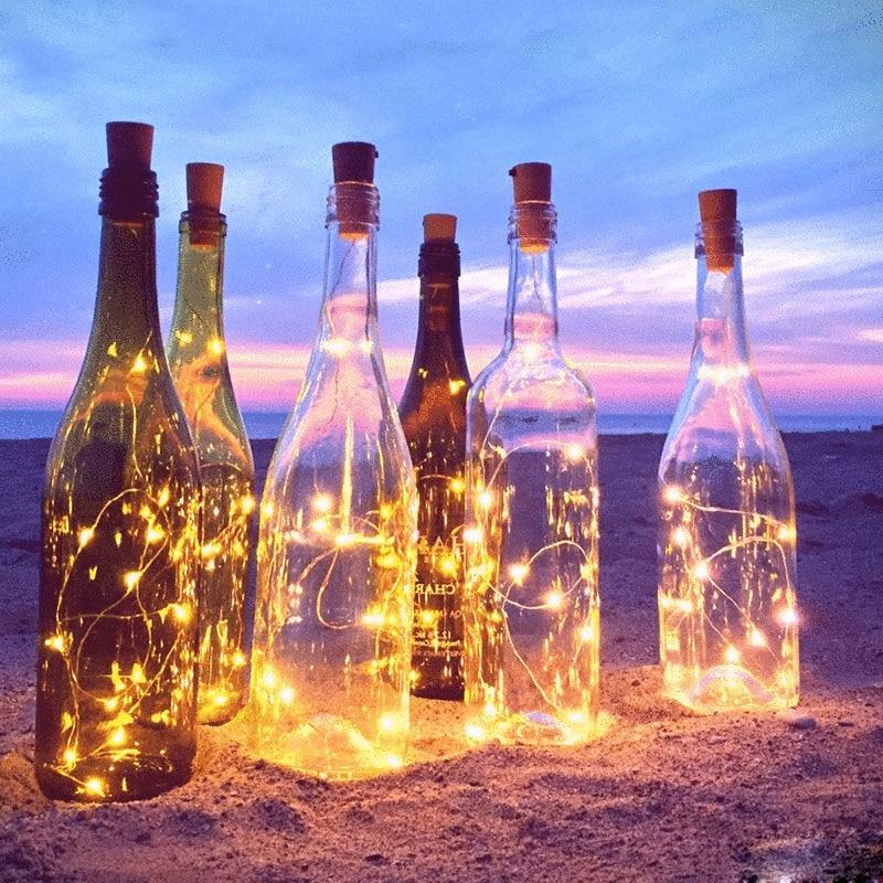 POTENCO Wire String Light for Bottle DIY Christmas Wedding Birthday Decor Bottle String Lights Stopper Copper LED Night Light