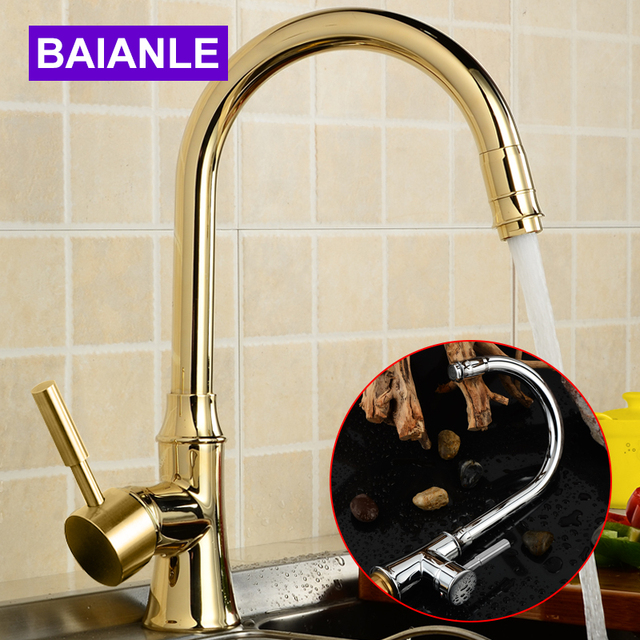 Golden&Silvery 360 Degree Swivel Solid Brass Kitchen Sink Faucets Cold and Hot Single Hole Bathroom Basin Faucet Mixer Tap