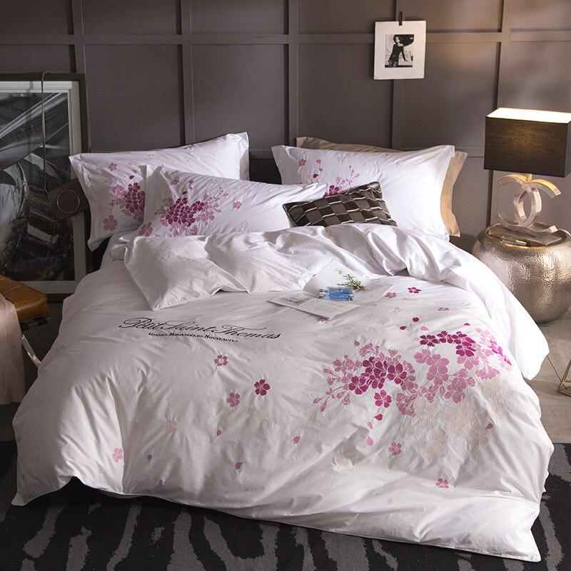 Luxus Ägypten Baumwolle jacquard Stickerei Bettwäsche Sets Duvet Abdeckung Bett linie flache Blatt Bettdecke Bettdecken Quilt abdeckung Blumen-in Bettwäsche-Sets aus Heim und Garten bei  Gruppe 1