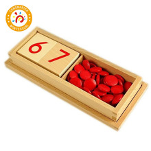 Montessori Kids Toys Wooden Box Numbers And Chips Educational Early Learning For Children