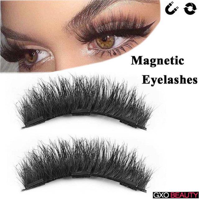 7714a9b9bd3 GXO BEAUTY New Magnetic Eye Lashes 3D Reusable False Magnet Eyelashes  Professiona Cosmetic Extension Long False Eyelashes