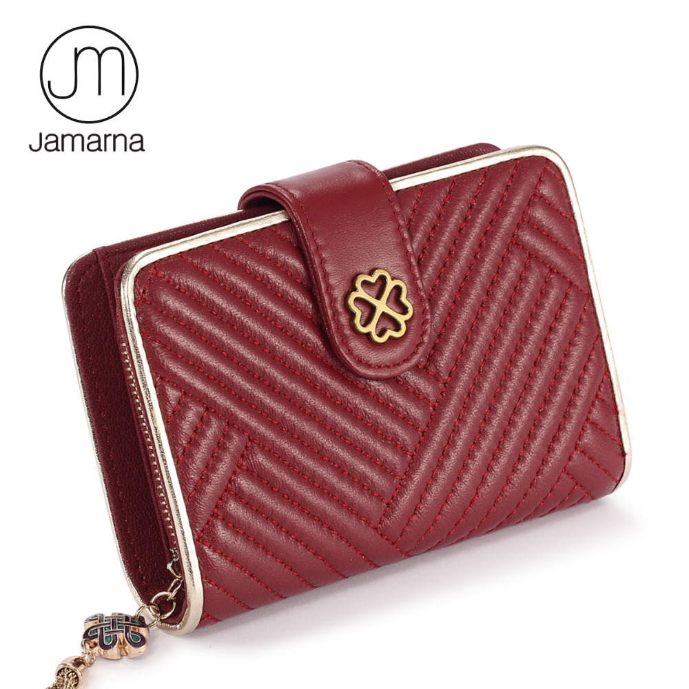 Jamarna Wallet Female 100% Sheepskin Leather Card Holder Tassels Design Women Coin Purse Card Holder Small Female Hasp Wallet Re casual weaving design card holder handbag hasp wallet for women