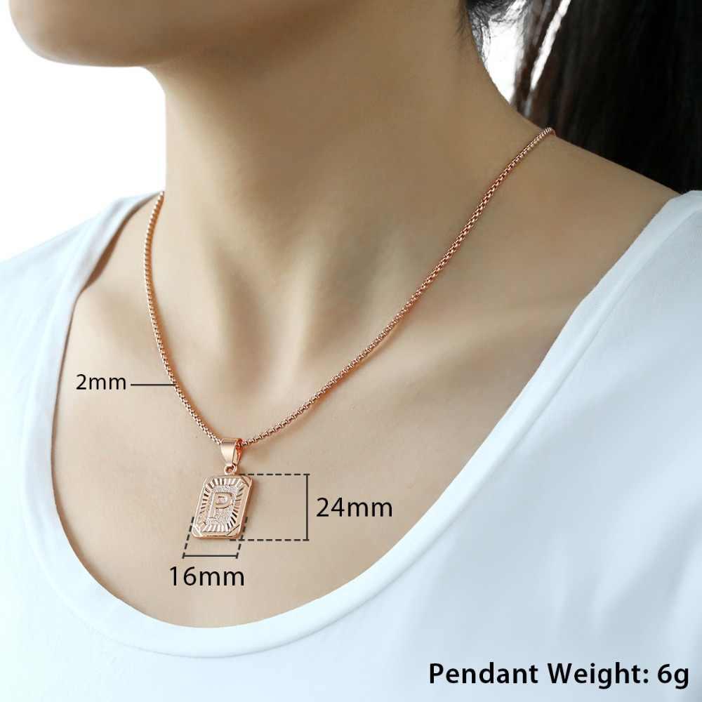 A-Z 26 inicjały wisiorek naszyjnik listowy dla kobiet mężczyzn różowe złoto srebro list hurtownia biżuterii rewelacyjny prezent dla przyjaciół miłości GPM05