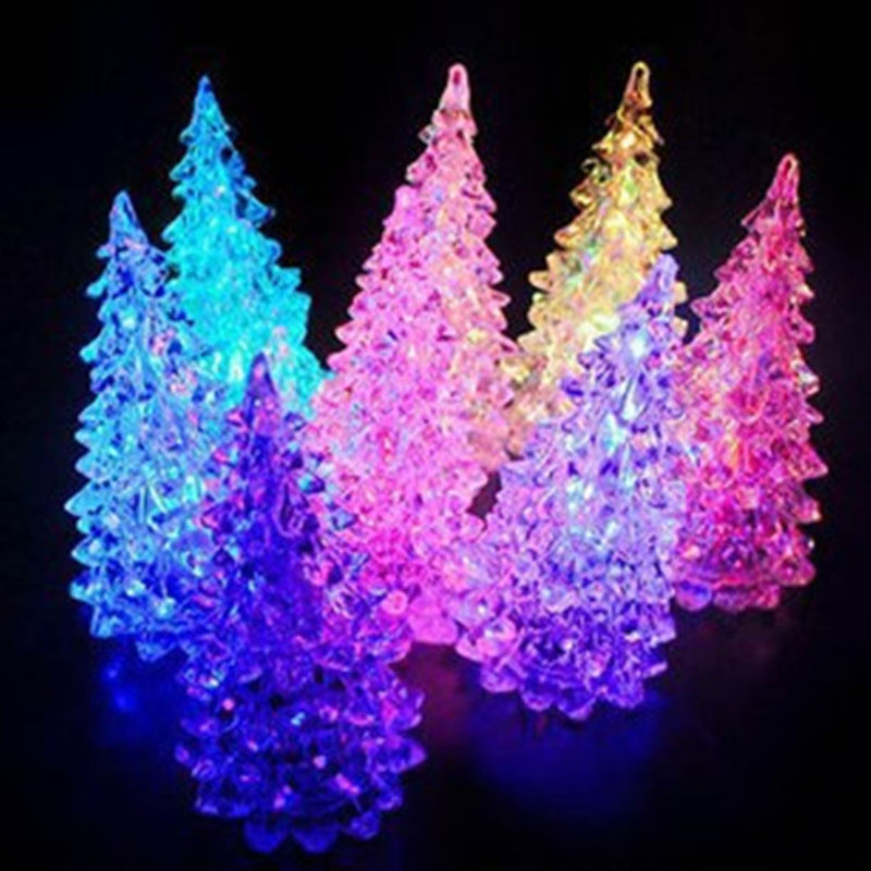 Acrylic Christmas Tree LED Colorful Lights Home Holiday Decor Christmas Lamp For Holiday ...
