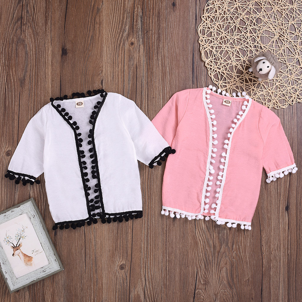 Girls Tops Shirt Short-Sleeve Toddler Kids And Tassel Enfant Solid Garcon -P68 Blouses