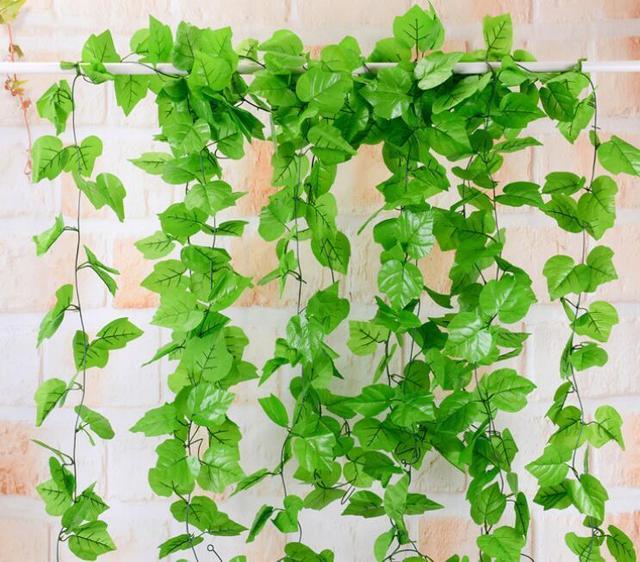 230cm/7.5 ft long artificial plants green ivy leaves grape vine fake