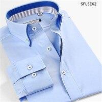 100 Cotton Double Collar Dress Shirt Men Long Sleeve White Shirts Imported Clothing Camisa Masculina