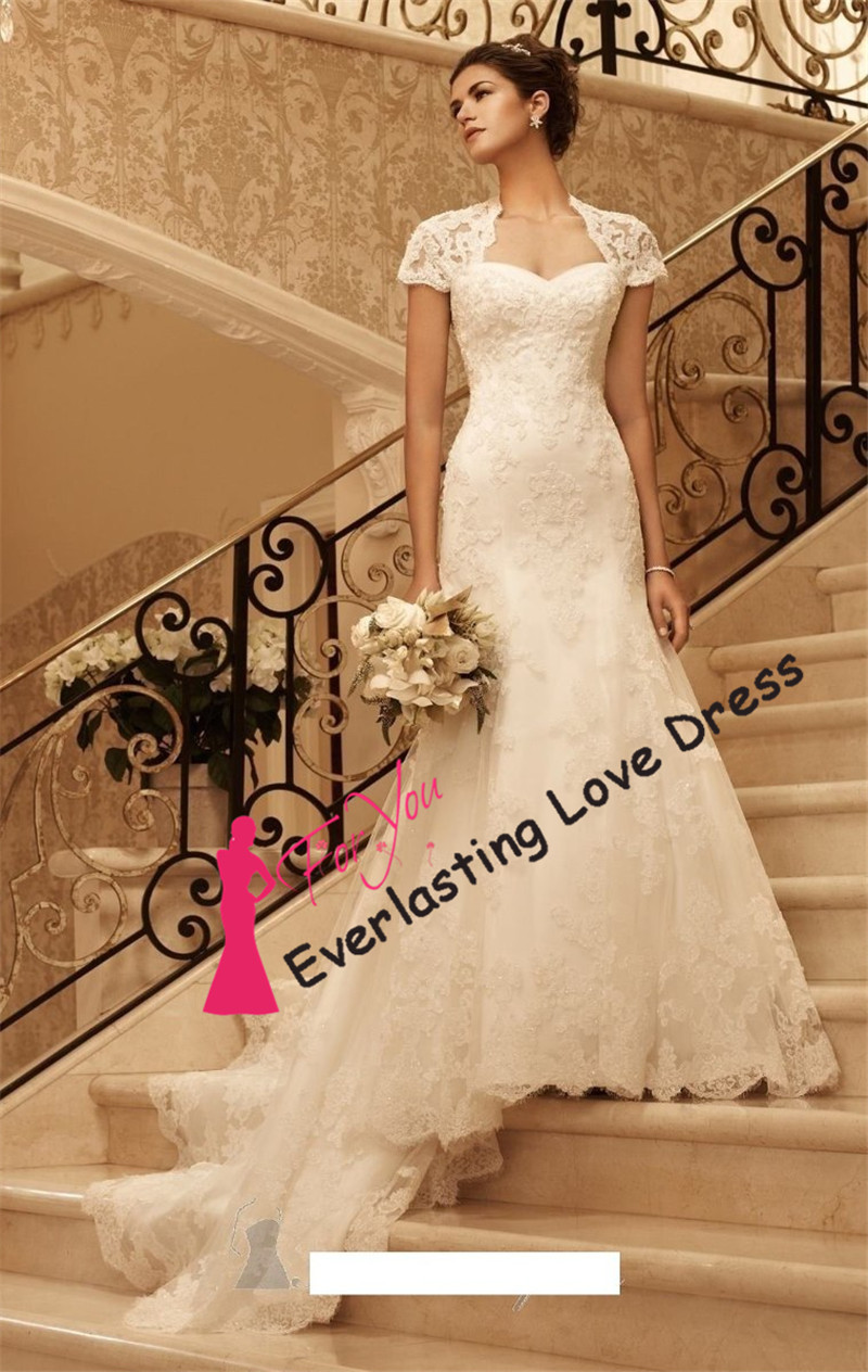 Charming sweetheart applique cap sleeves mermaid lace for Lace sweetheart wedding dress cap sleeves