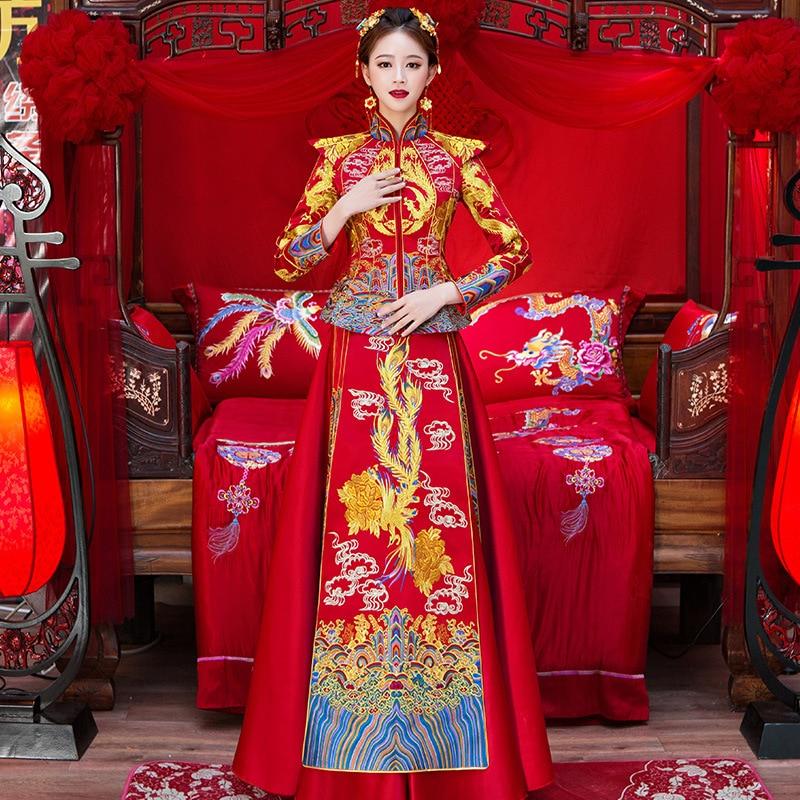 Robe de mariée traditionnelle chinoise femmes Cheongsam broderie Dragon Phoenix Qipao robes de fête orientale rouge Qi Pao