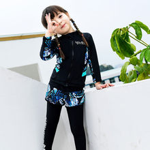 Modest 3 piece  girl swimwear islamic swimsuit for kids UV shirt+pants+shorts fashion muslim bathing suit children