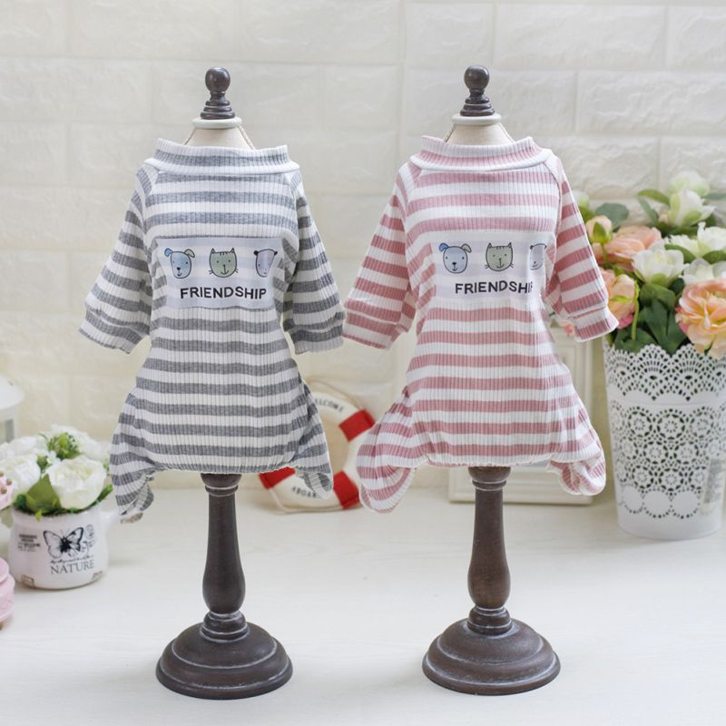 New Fashion Spring Summer Dog Clothes Dog Vest Dogs Pets T Shirts Four Legs Sleeve Stripe Polo T-shirt Tracksuit Pet Clothing