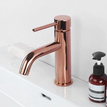 Rose Gold Brass Bathroom Basin Faucet Single Handle Deck Mounted Hot And Cold Bathroom Sink Water Mixer Tap