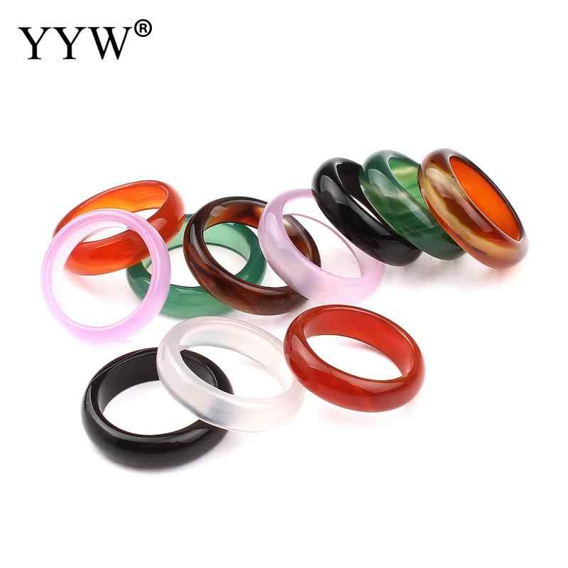 Top Quality Healing Natural stone Multi-Color Women's Cocktail Finger Rings Charm Nice Fashion Men Jewelry New