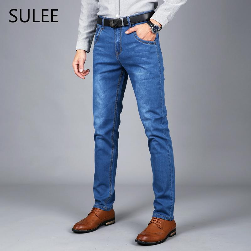 b48ddfd63a8 SULEE Brand 2018 New Spring Summer Men Skinny Jeans Stretch Fashion Classic  Blue Slim Jeans Male Trousers Plus Size 38 40 42