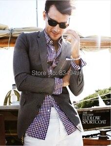 Image 3 - 100% 코튼 블루 레드 화이트 깅엄 드레스 셔츠 맞춤 제작, 맞춤형 드레스 셔츠, 남성용 체크 무늬 무늬 셔츠