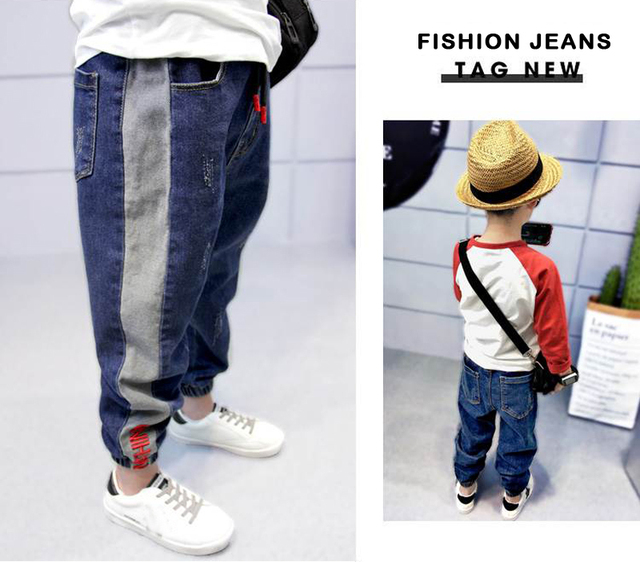 DIIMUU Toddler Kids Jean Boys Jeans Casual Elastic Wasits Loose Long Trousers Sports Outdoor Holiday Children Denim Pants 5-13T